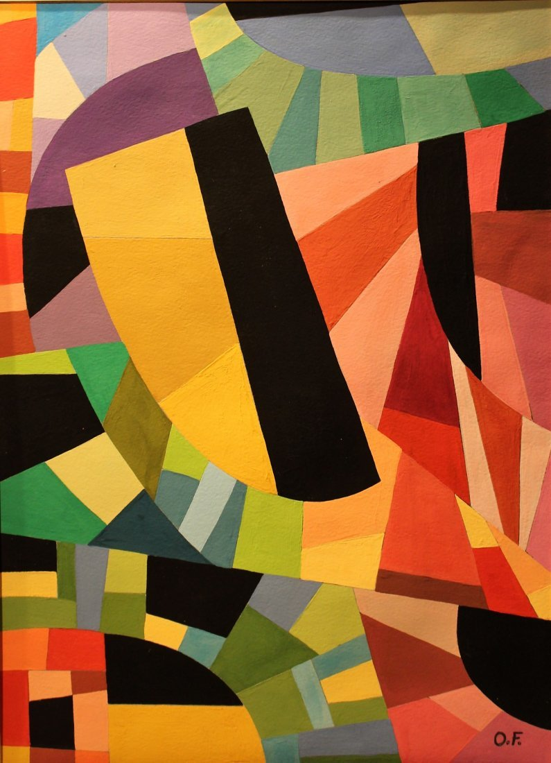 OTTO FREUNDLICH 1878-1943, COLORFUL ABSTRACT GOUACHE