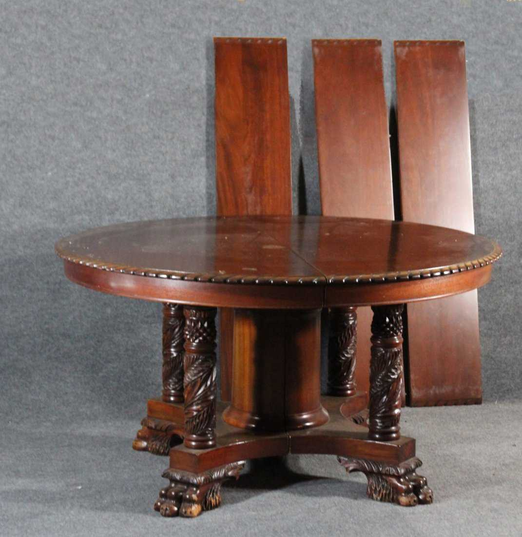 FABULOUS ACANTHUS CARVED LEGS EMPIRE DINING TABLE