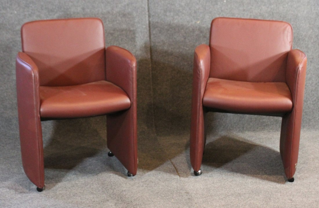Stupendous Pair Calia Italia Red Mauve Leather Chairs Beatyapartments Chair Design Images Beatyapartmentscom