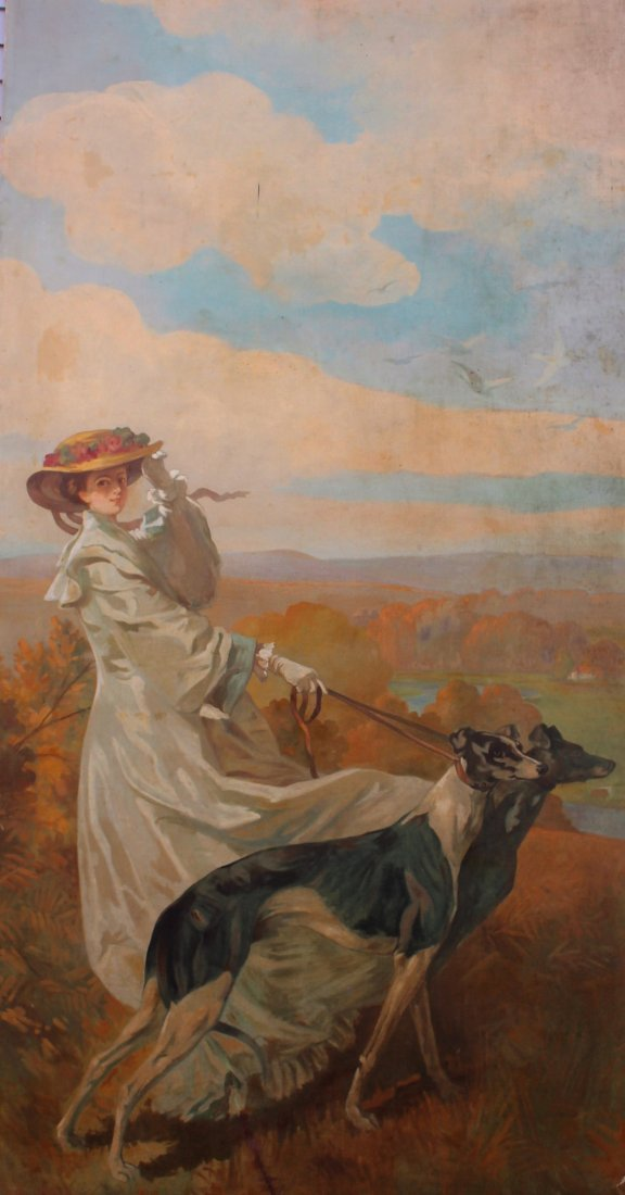 HOWARD CHANDLER CHRISTY Manner Of, GIRL WITH WHIPPETS