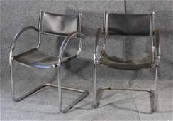 2 MARCEL BREUER Chrome Black Leather CURVED ARM CHAIRS