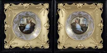 Pair AUGUSTUS REX MEISSEN Porcelain MONKS PLATES Framed
