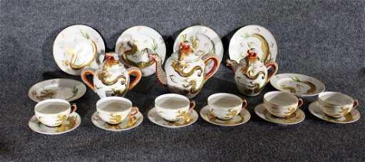 21 Piece Lithophane Geisha Girl Japanese Dragon Tea Set