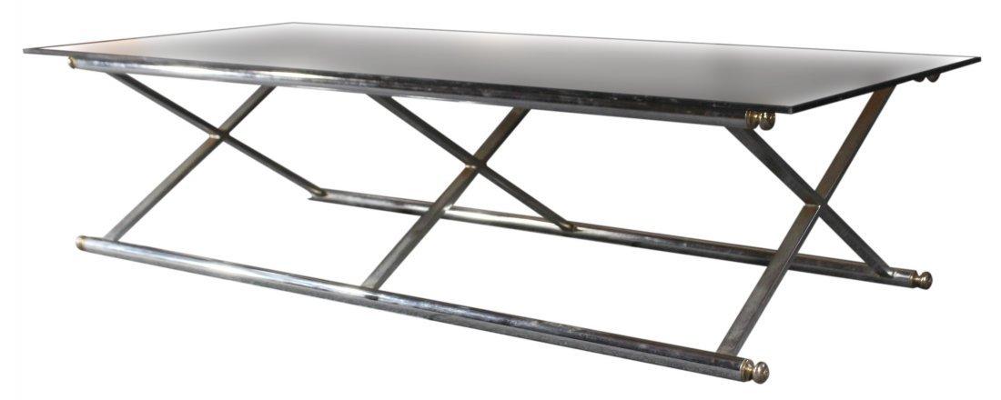 MAISON JANSEN Rectangular Chrome and Brass Coffee Table