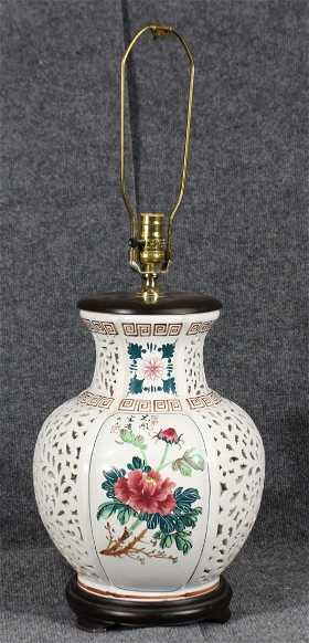 Pair Seyei China Japan Reticulated Porcelain Lamps