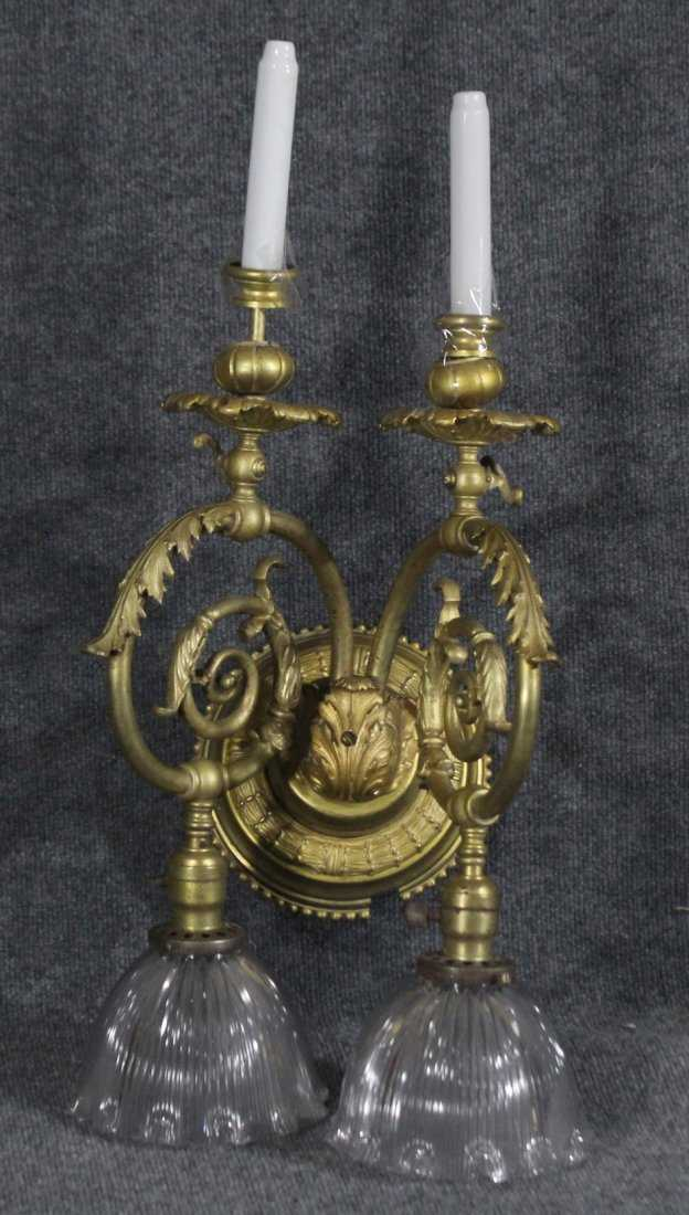 Large Brass Victorian Wall Sconce Both Electric Candle