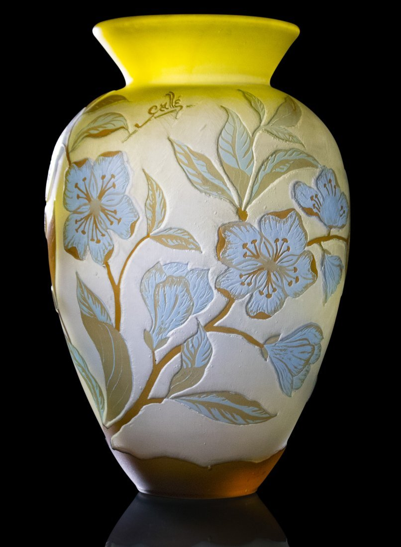 GALLE 4-Color Cameo Glass Vase Floral & Vine