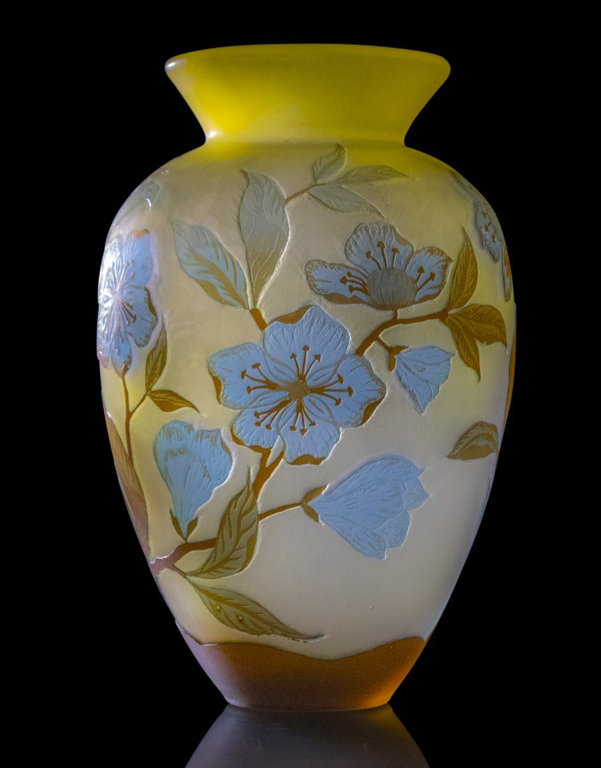 GALLE 4-Color Cameo Glass Vase Floral & Vine - 2
