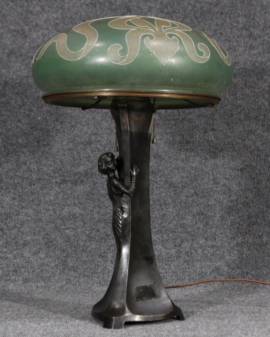 ART NOUVEAU BRONZE FIGURAL GIRL MUSHROOM LAMP - 2