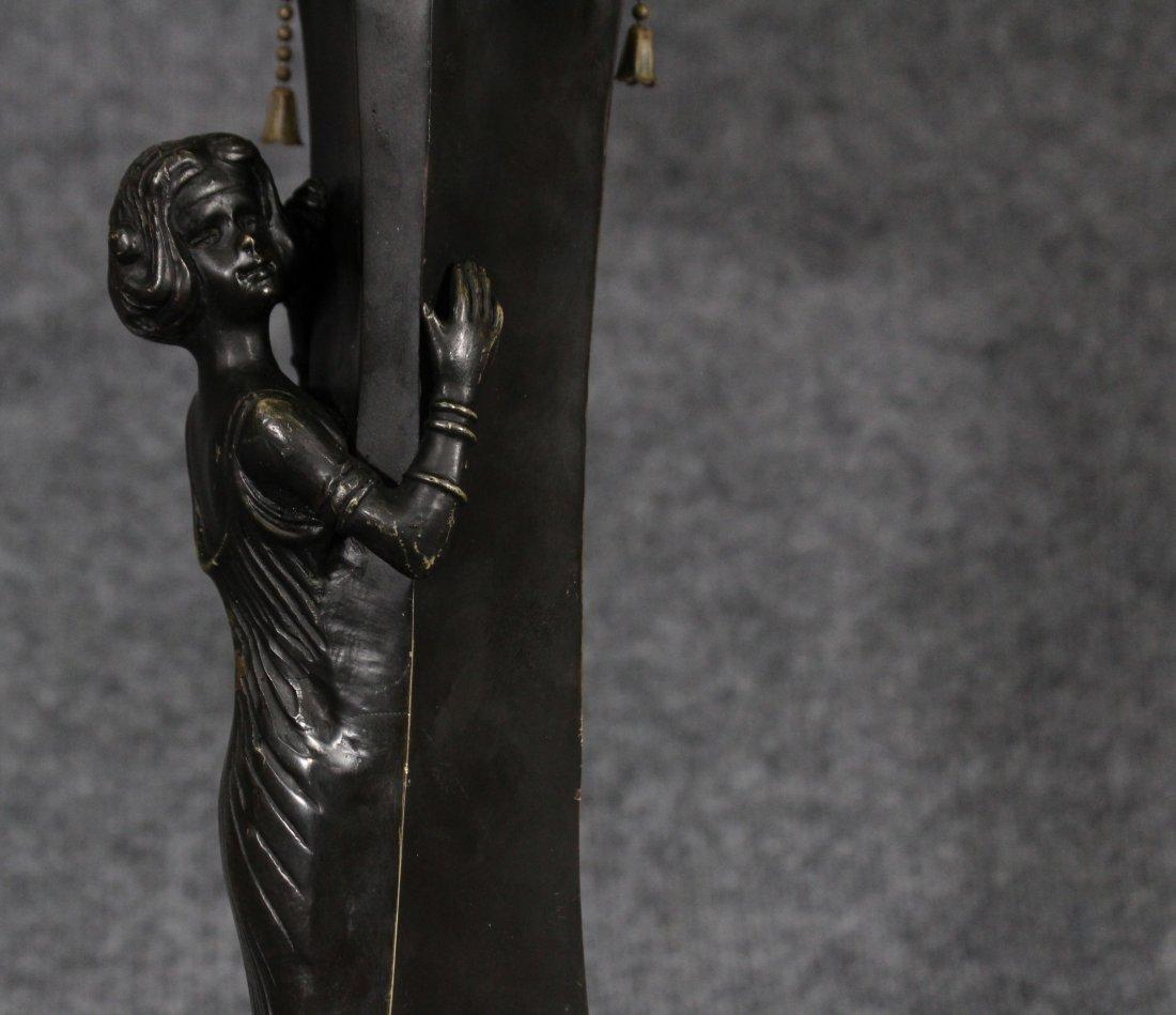 ART NOUVEAU BRONZE FIGURAL GIRL MUSHROOM LAMP - 3