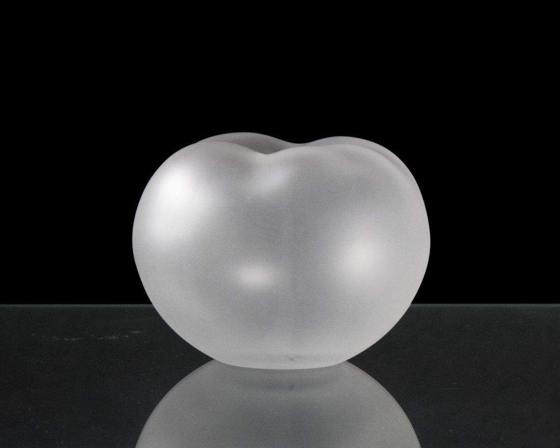 LALIQUE FRANCE Signed Satin Glass Bud Vase
