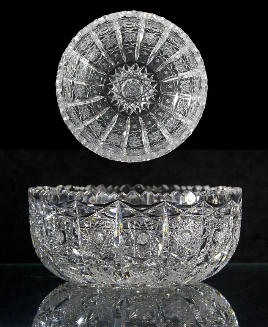 American Brilliant Cut Glass Bowl - Pinwheel Pattern