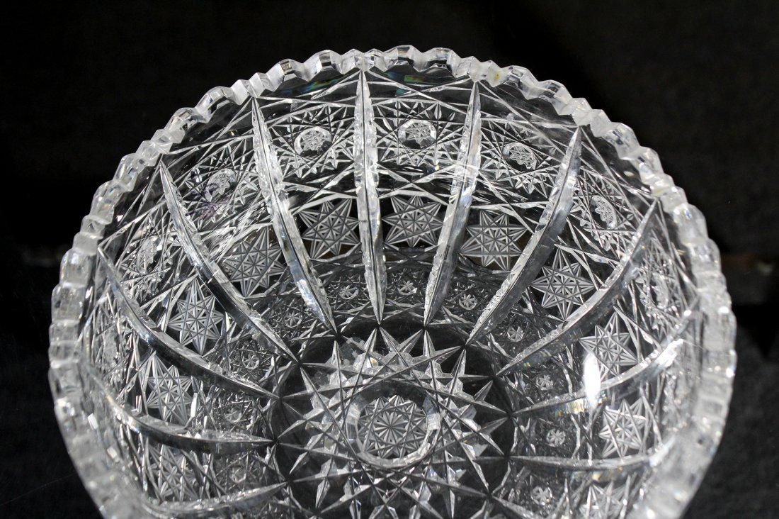American Brilliant Cut Glass Bowl - Pinwheel Pattern - 3