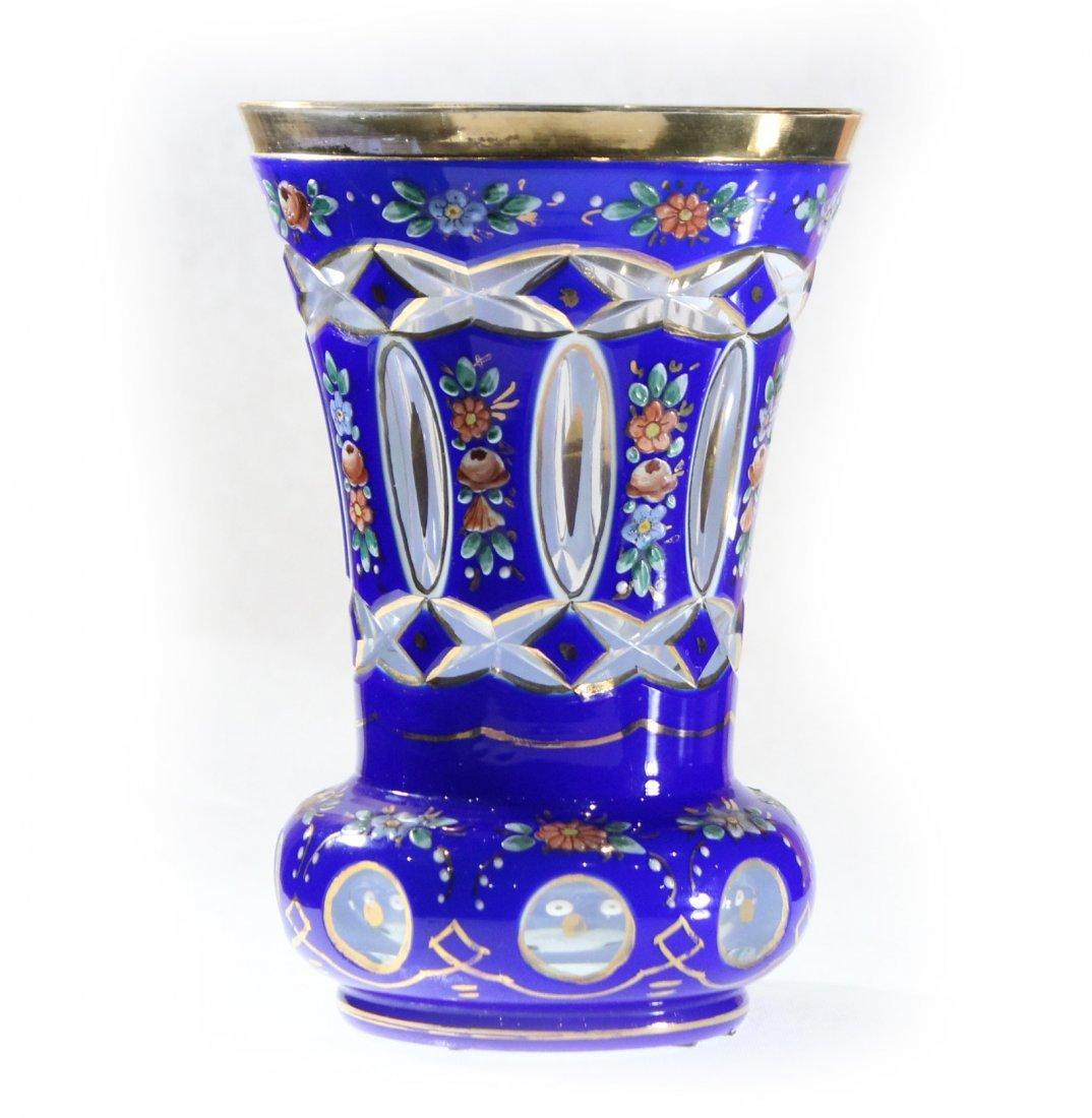 Exceptional Bohemian Cobalt Glass Vase Enamel Flowers