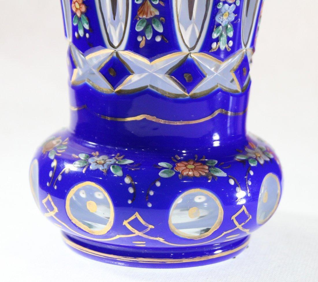 Exceptional Bohemian Cobalt Glass Vase Enamel Flowers - 2