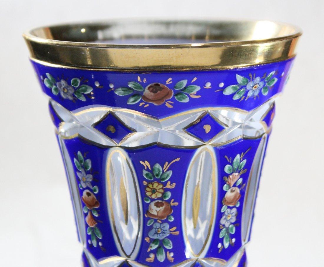 Exceptional Bohemian Cobalt Glass Vase Enamel Flowers - 3