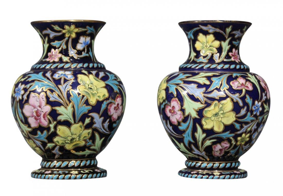 Pair Italian Glass Vases Glazed All Over Enamel Floral