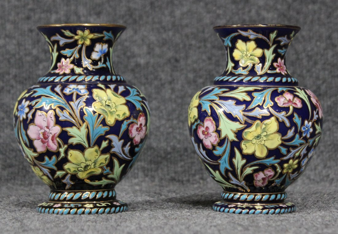 Pair Italian Glass Vases Glazed All Over Enamel Floral - 2