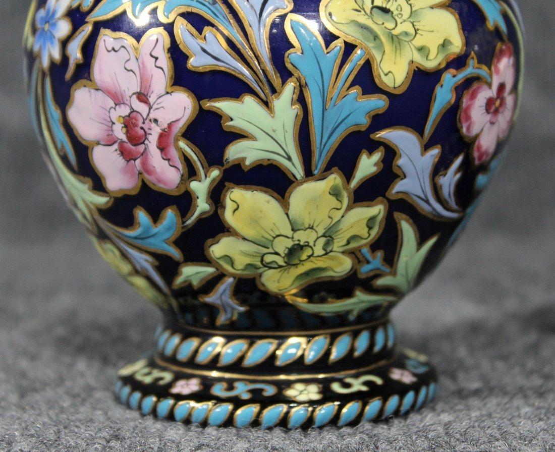Pair Italian Glass Vases Glazed All Over Enamel Floral - 4
