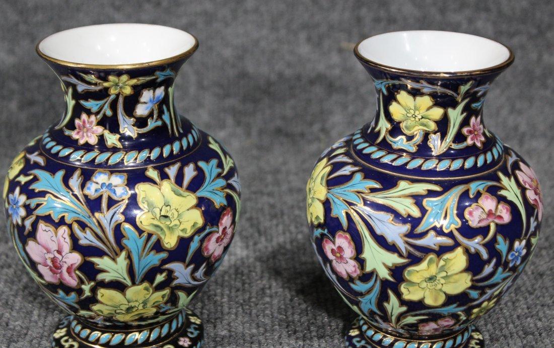 Pair Italian Glass Vases Glazed All Over Enamel Floral - 5
