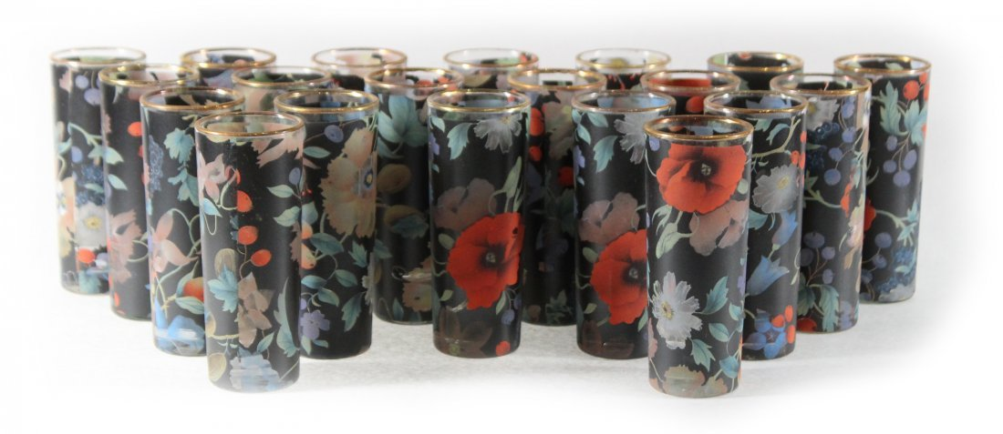 20 Italian Glass Table Top Bud Vases Handpainted Floral