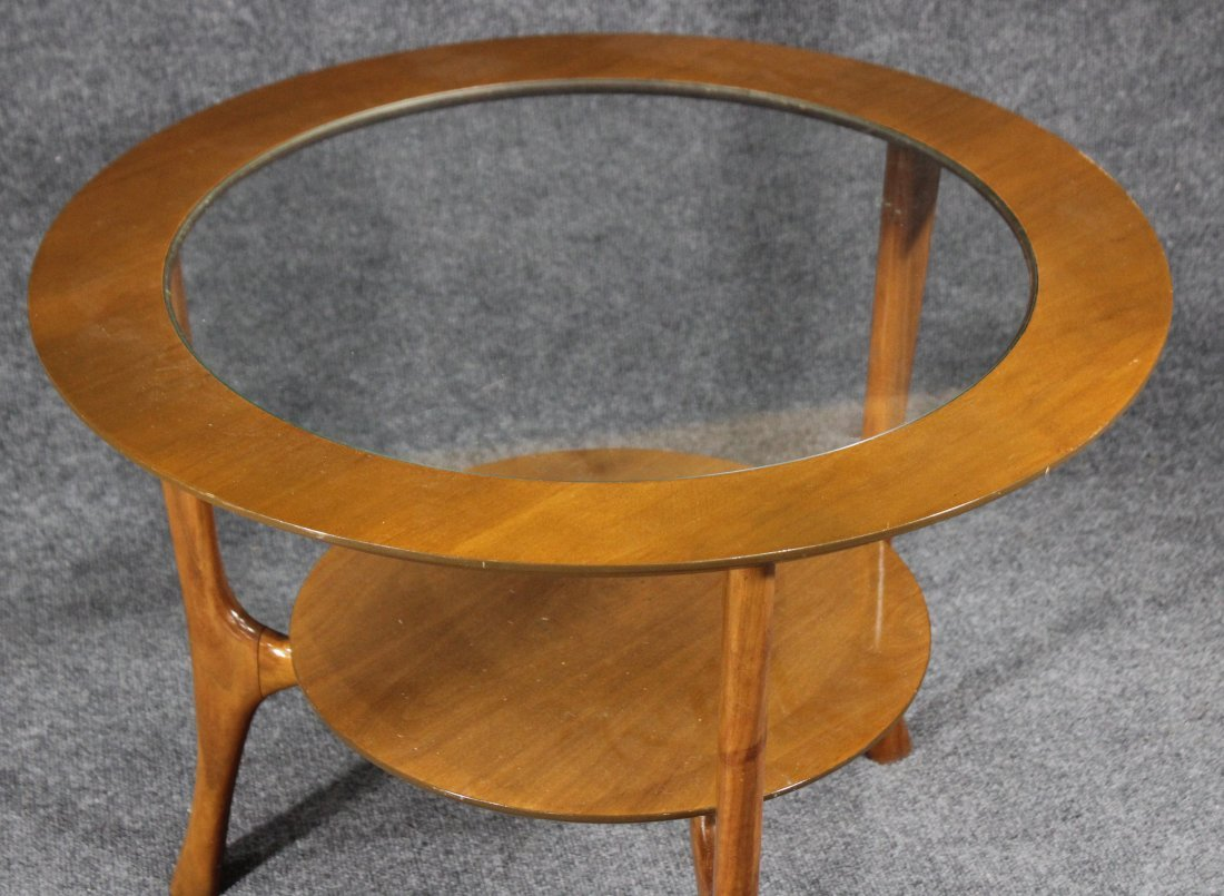 Mid-Century Modern Round Glass Top Occasional Table - 2
