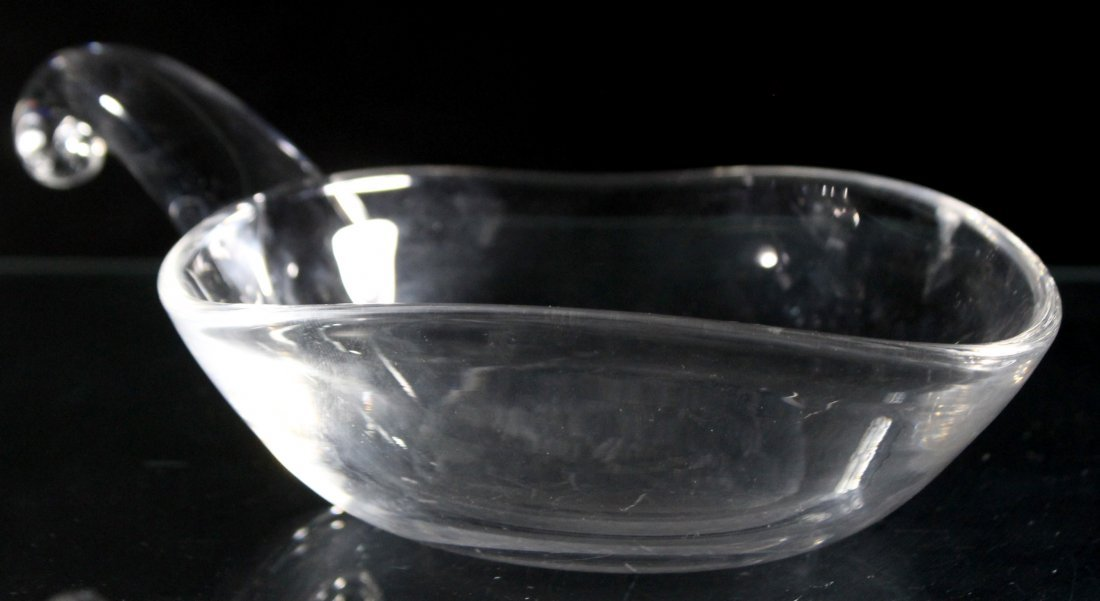 STEUBEN Signed Glass Nappy Bowl With Handle - 2