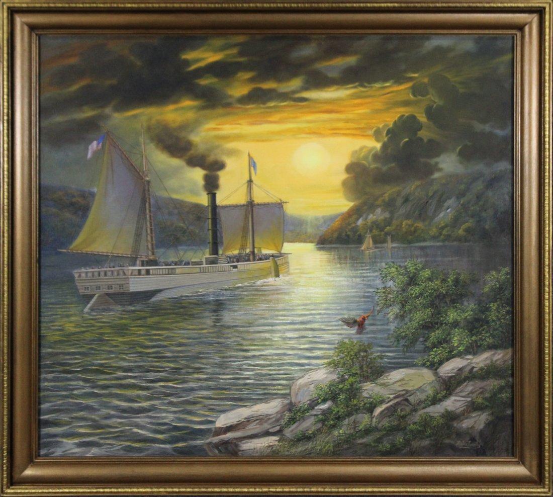 KRISTINA NEMETHY, Large OIL/C HUDSON RIVER BOAT
