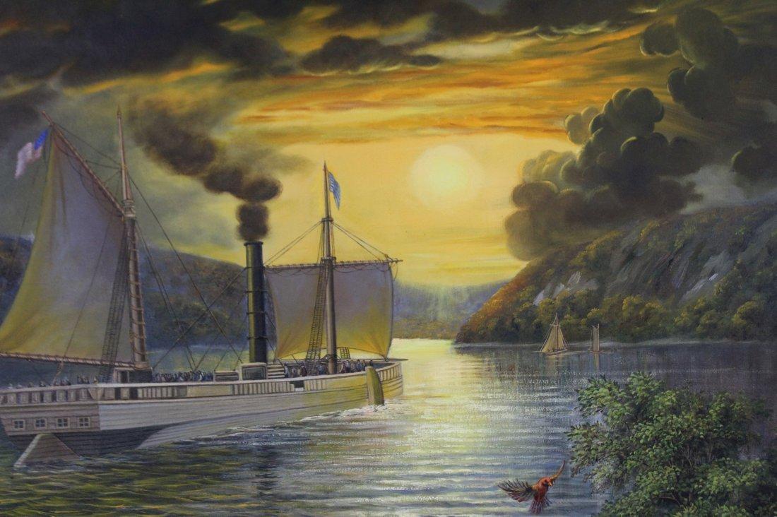 KRISTINA NEMETHY, Large OIL/C HUDSON RIVER BOAT - 3