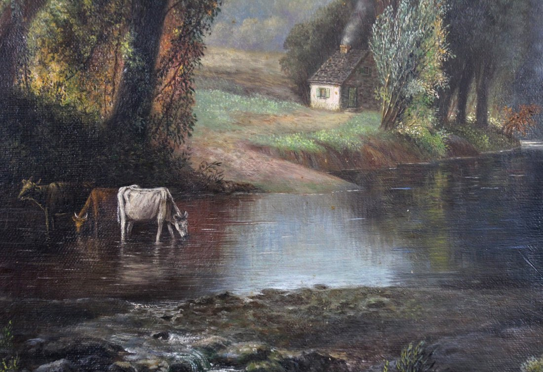 GEORGINA NEMETHY, Cows Watering At Stream Landscape - 3