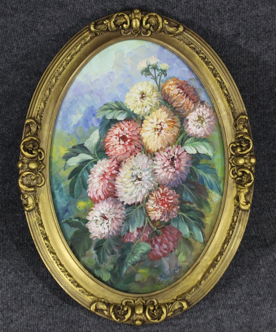 KRISTINA NEMETHY, OIL/C Oval Floral Still Life