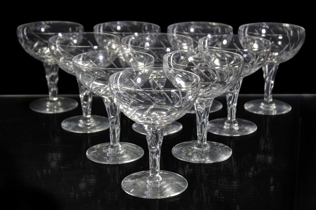 STUART ENGLAND Ten [10] Signed Cut Glass Wine Glasses