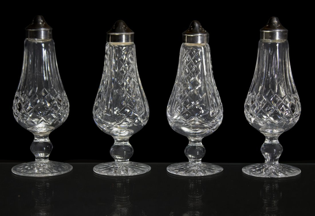 WATERFORD Signed Cut Crystal Glass Salt Pepper Shakers