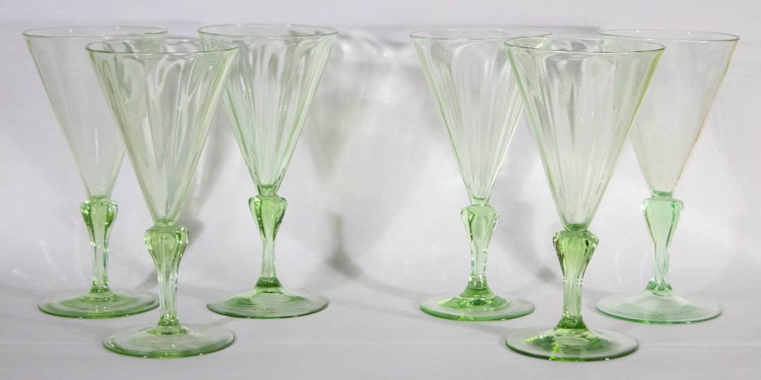Set Six [6] Very Fine Quality Green Cocktail Glasses