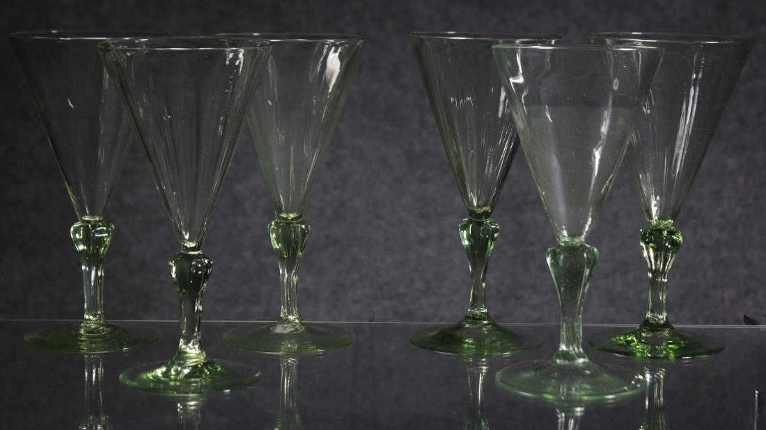 Set Six [6] Very Fine Quality Green Cocktail Glasses - 2