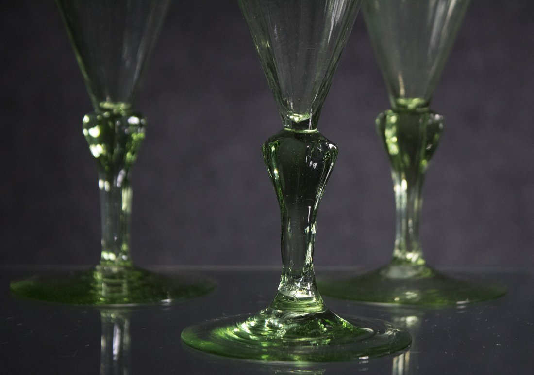 Set Six [6] Very Fine Quality Green Cocktail Glasses - 3
