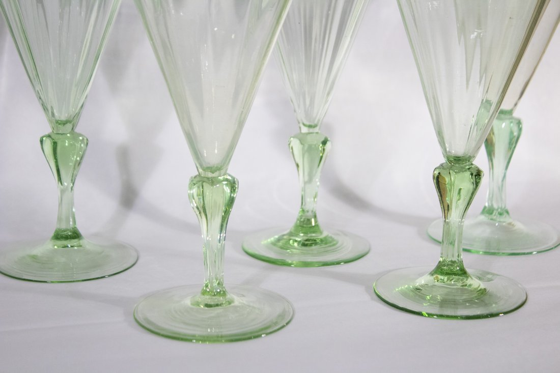 Set Six [6] Very Fine Quality Green Cocktail Glasses - 4