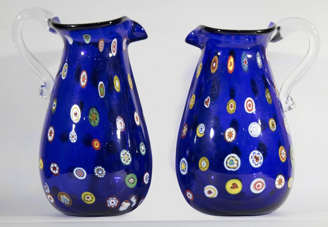 Pair MURANO Cobalt Glass Vases With Milifiore Spots