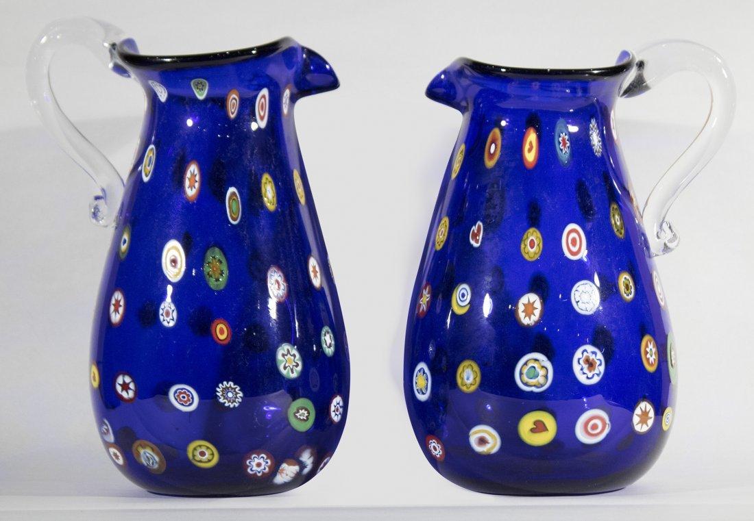 Pair MURANO Cobalt Glass Vases With Milifiore Spots
