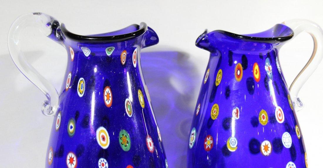 Pair MURANO Cobalt Glass Vases With Milifiore Spots - 2