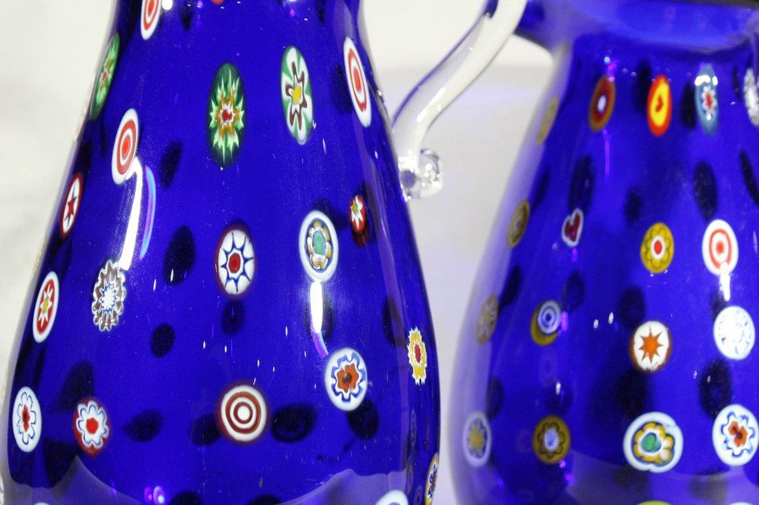 Pair MURANO Cobalt Glass Vases With Milifiore Spots - 3