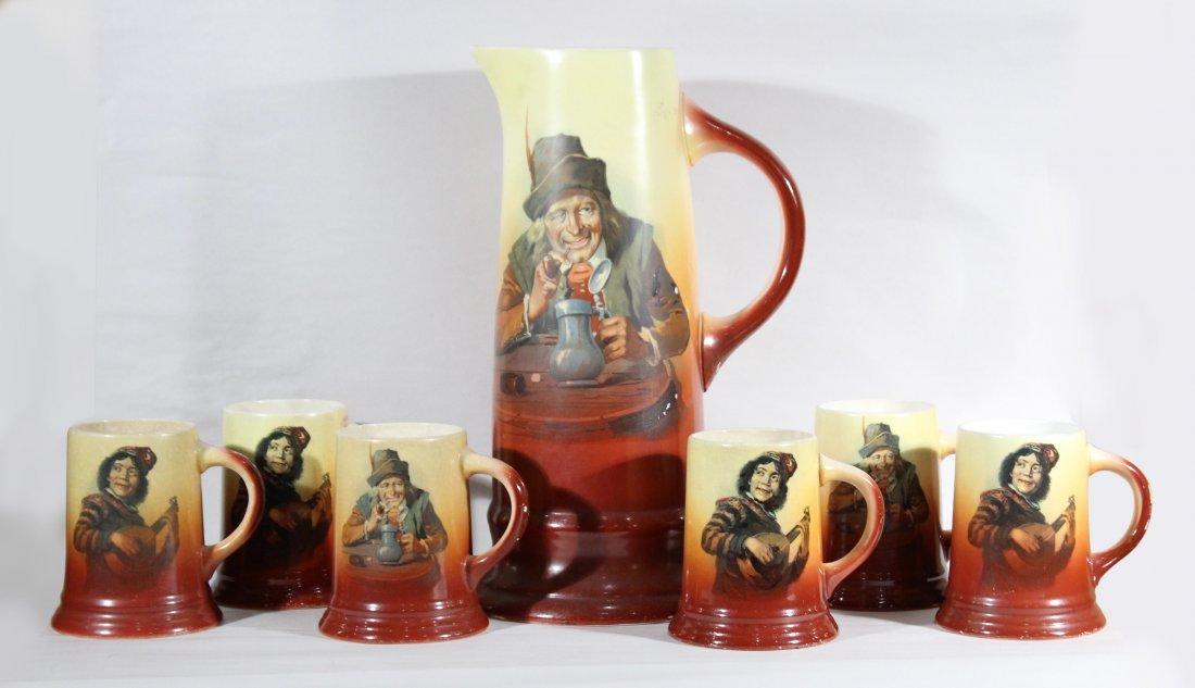 7 pc. C. Hourick   Porcelain FRIAR MONK TANKARD SET