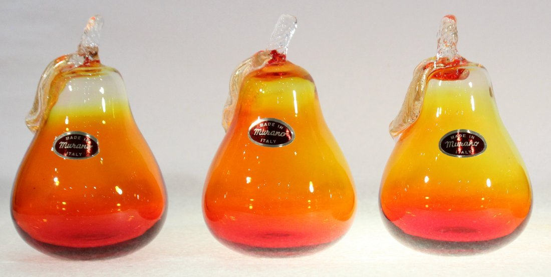 Three [3] MURANO ITALY GLASS PEARS yellow to orange