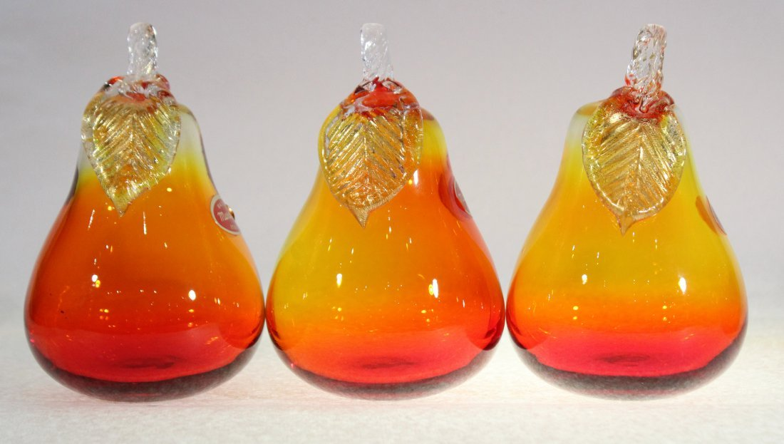 Three [3] MURANO ITALY GLASS PEARS yellow to orange - 3