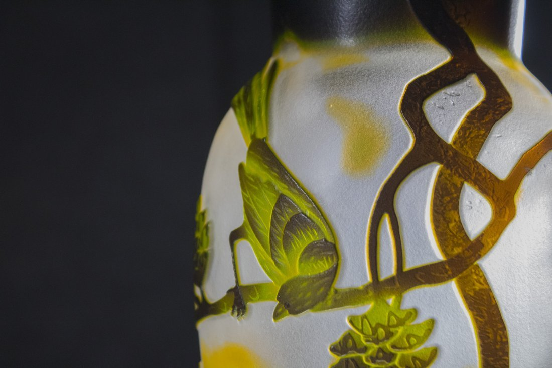 CAMEO GLASS VASE BIRDS ON BRANCHES - 3 COLOR CUT - 3