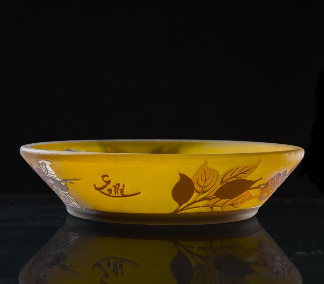 GALLE 4-Color Cameo Glass BOWL Floral And Leaves