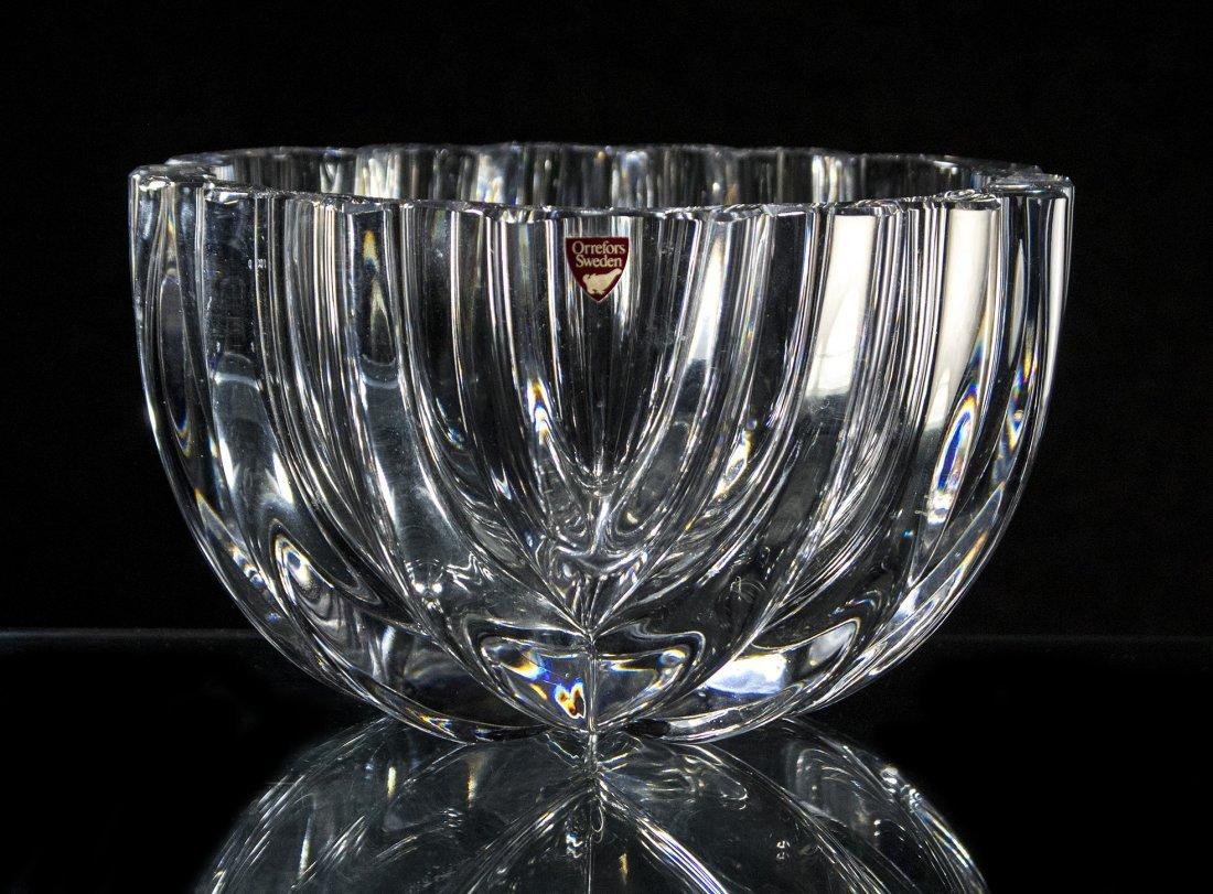 ORREFORS SWEDEN Mid Century Crystal Glass Center Bowl