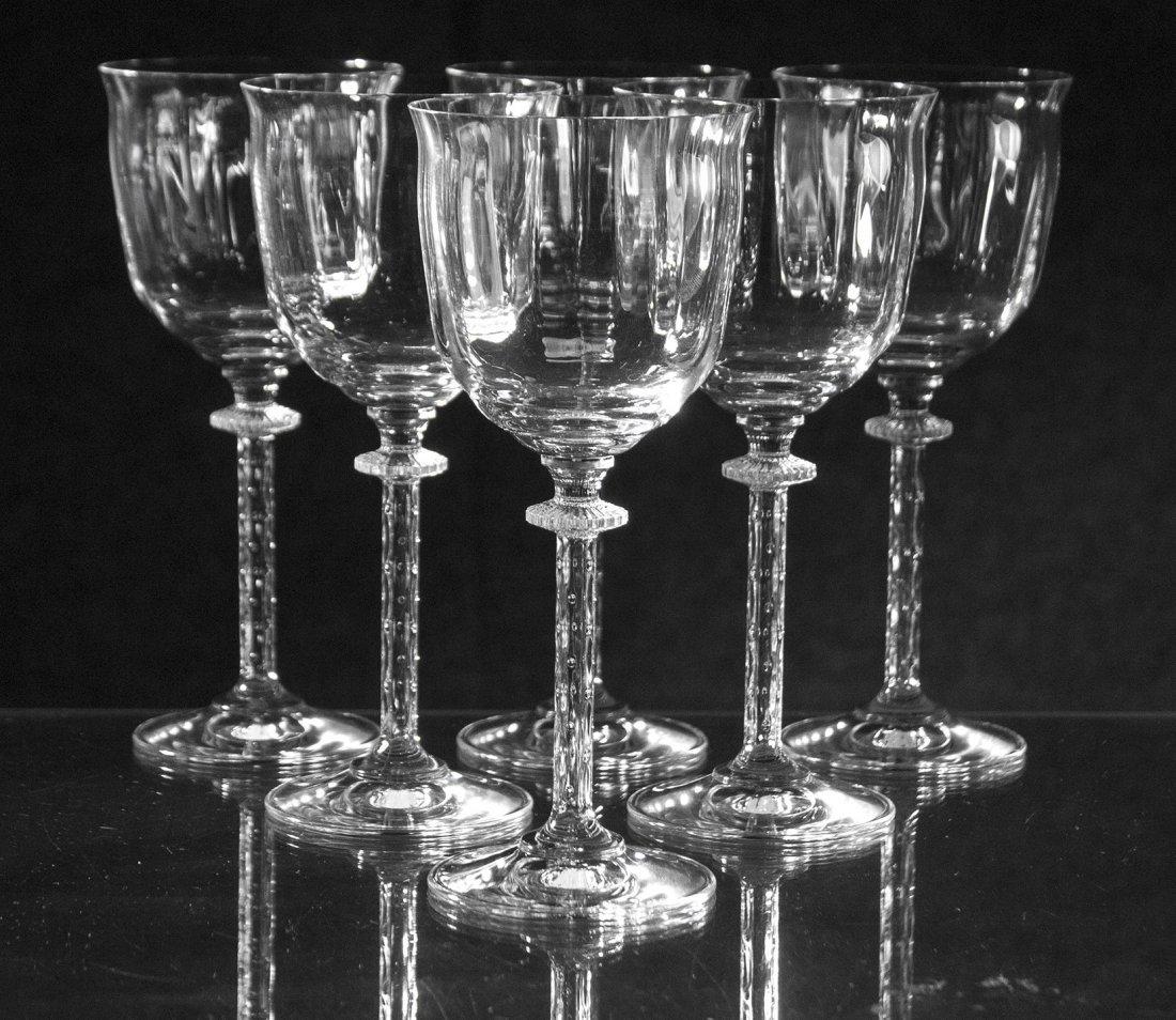 Set Six [6] St. Louis Controlled Bubble Glass Stemware