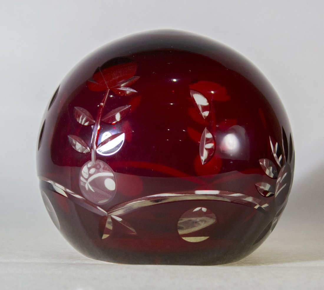 Bohemian Cut Glass Paperweight Ruby Red Cut To Clear