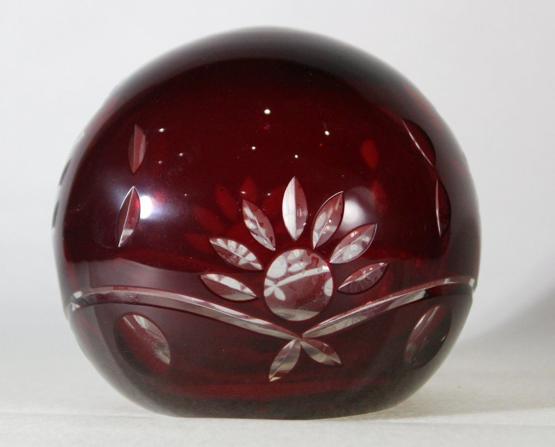 Bohemian Cut Glass Paperweight Ruby Red Cut To Clear - 3